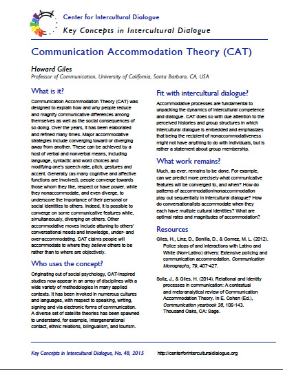Key Concept #48: Communication Accommodation Theory