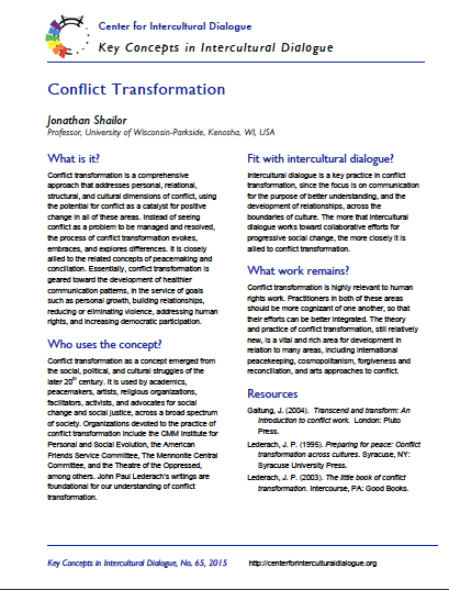 Key Concept #65: Conflict Transformation by Jonathan Shailor