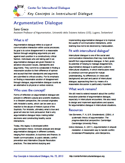 Key Concept 73 Argumentative Dialogue by Sara Greco