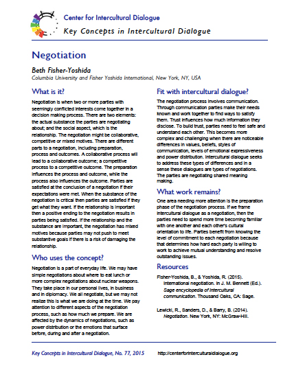 Key Concept 77 Negotiation by Beth Fisher-Yoshida