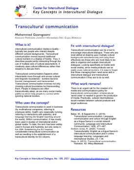 KC100 Transcultural Communication
